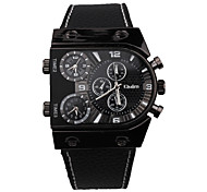 Oulm Men's Wrist watch Quartz Three Time Zones Leather Band Cool Casual Black