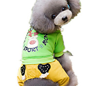 Dog Clothes/Jumpsuit Dog Clothes Cute Cartoon Yellow Green