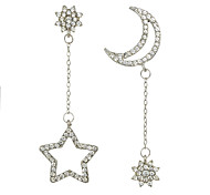 Rhinestone Moon Star Shape Long Drop Earrings
