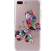 For Apple iPhone 7 7Plus Case Cover Butterfly Pattern TPU Material Diamond-Studded Mobile Phone Case