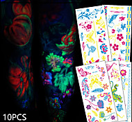 10 Tattoo Stickers Animal Series / Flower Series / Totem Series / Others / Cartoon Series / Romantic SeriesNon Toxic / Pattern /