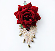 Women's Fashion Retro Alloy/Gemstone/Cloth Rose Flower with Little Bell Brooches Pin Daily/Casual Accessory 1pc