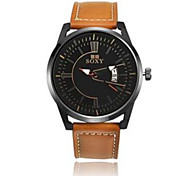 Men's / Unisex Sport Watch / Dress Watch / Fashion Watch / Wrist watch Quartz Water Resistant/Water Proof Leather Band Black / Brown Brand