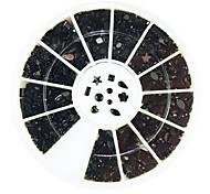 600PCS Mixs 11-style Black Rhinestone Nail Art Decorations