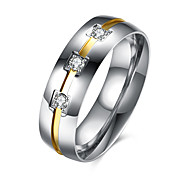 Platinum/ Gold Plated Men Wedding Rings Wholesale AAA CZ Three Stone Rings for Men Stainless Steel Finger Rings For Men