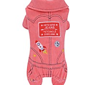 Dog Clothes/Jumpsuit Red Blue Dog Clothes Winter Letter & Number Cute Fashion Keep Warm