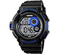 SKMEI Masculino Relógio Esportivo Digital LED Calendário Cronógrafo Impermeável alarme Cronômetro Noctilucente Colorido PU Banda Legal