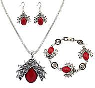 Set di gioielli Di tendenza Europeo Resina Lega Rosso Verde 1 collana 1 paio di orecchini 1 bracciale Per Quotidiano 1 Set Regali di nozze