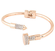 Women's Cuff Bracelet Rhinestone Simulated Diamond Alloy Fashion Punk Silver Golden Jewelry 1pc