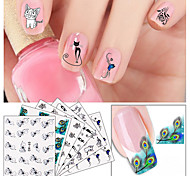 6Pcs/set Mixed Design Cat Flower Nail Art Sticker Water Transfer Stickers Wrap 3D Nail Decals Tips Decoration