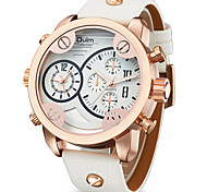 Men's Wrist watch Quartz Dual Time Zones Genuine Leather Band Cool Casual Black White Brand