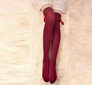 Socks/Stockings Classic/Traditional Lolita Lace-up Red Lolita Accessories Stockings Bowknot For Women Cotton