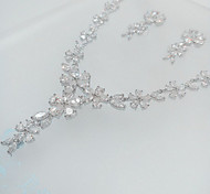 Jewelry Set Zircon Cubic Zirconia Imitation Diamond Silver Necklaces Earrings For Party 1set Wedding Gifts