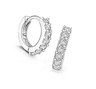 Stud Earrings Hoop Earrings Jewelry European Sterling Silver Imitation Diamond Circle Jewelry For Daily 1 pair