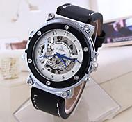 Hombre Mujer Reloj Deportivo Reloj de Vestir Reloj de Moda Cuerda Automática Calendario Esfera Grande Cuero Auténtico Banda Cosecha Casual