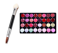Pro 32 Color Lip Gloss Lipstick Makeup Cosmetic Palette Set + 10PCS Dual Sponge Stick(Eye Shadow Brush + Lip Brush)