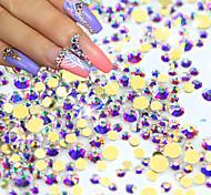 1440pcs/pack New Nail Art Glitter Rhinestones AB Gold 3d Glass Crystal Flat back For Nail Salon Decoration NJ246