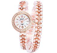 Mulheres Relógio de Moda Relógio de Pulso Simulado Diamante Relógio Quartzo Lega Banda Prata Ouro Rose Prata Ouro Rose