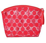 Makeup Storage Cosmetic Bag / Makeup Storage PU Lace Ellipse 23x5x16cm Black / Blue / Red / Purple / Rose / Violet