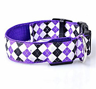 Dog Collar LED Lights Plaid/Check Purple Nylon