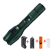 U'King ZQ-G7000-Green#1-US CREE XML-T6 2000LM Portable Zoom Flashlight Torch Kit 5Modes Range 400m with 1*Battery and Charger