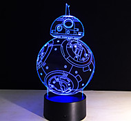 7 Color Holiday Atmosphere Decorative Kids Gift Robot 3D Ilusion Lamp Light Lighting Gadget Led Night Light