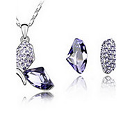 Jewelry Set Crystal Alloy Purple Fuchsia Blue Party 1set 1 Necklace 1 Pair of Earrings Wedding Gifts