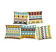 Set of 5  Geometric triangular pattern Linen Pillowcase Sofa Home Decor Cushion Cover