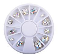 12pcs/Box Symphony AB Sharp End Luxury Diamond Nail Decoration Wheel Top Quality Nail Rhinestone Jewelry