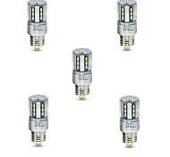 5W E26/E27 Bombillas LED de Mazorca T 24 SMD 5736 600 lm Blanco Cálido Blanco Fresco Decorativa V 5 piezas