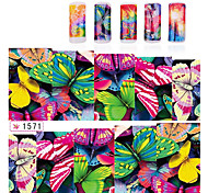 6sheets/pcs Nail Art Butterfly Water Transfer Stickers Nail Wraps Foil Polish Decals