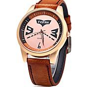 Unissex Relógio de Moda Quartzo Digital Colorido Couro Banda Casual Preta Laranja Marrom marca
