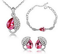 Jewelry Set Crystal Alloy Red Blue Party 1set 1 Necklace 1 Pair of Earrings 1 Bracelet Wedding Gifts