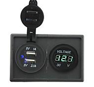 12v / 24v 3.1a tomada USB dupla e voltímetro levou com o painel titular habitação para barco carro caminhão rv