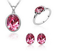 Jewelry 1 Necklace 1 Pair of Earrings Rings Crystal Party Alloy 1set Women Red Green Pink Wedding Gifts