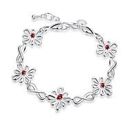 Bracelet Chaînes & Bracelets Charmes pour Bracelets Zircon Cuivre Plaqué argent Forme de FleurAmitié Mode Bohemia style Style Punk