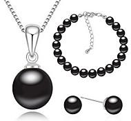 Perle Aleación Weiß Schwarz Grau 1 Halskette 1 Paar Ohrringe 1 Armreif Für Party 1 Set Hochzeitsgeschenke