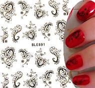 1pcs New Sweet Nail Art Sticker Beautiful Black Flower Vine Design Nail Water Transfer Decals Nail Beauty Tip BLE891