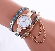 Wrist watch Bracelet Watch Simulated Diamond Watch Quartz Leather Band Black Blue