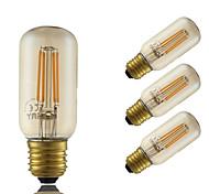4W E26/E27 Bombillas de Filamento LED T 4 COB 350 lm Ámbar Decorativa Regulable AC 100-240 V 4 piezas