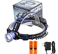 U'King® ZQ-X837BL#5-EU CREE XML T6 Zoomable 180 Rotate 3Modes Headlamp Bike Light Kits with Rear Safety LED
