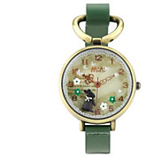 Men's Women's Fashion Watch Quartz / Leather Band Casual Green Green
