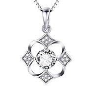 Pendants Crystal Sterling Silver Zircon Cubic Zirconia Simulated Diamond Basic Flower Style Love Luxury Silver Jewelry For Daily Casual