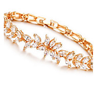 Chain Bracelet Crystal Crystal Zircon Simulated Diamond Alloy Fashion Leaf Gold Jewelry 1pc