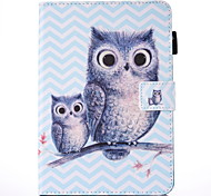 For IPad 234 Case Cover Owl Pattern PU Leather Material Flat Protection Case