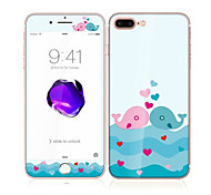 For Apple iPhone 7 4.7 Tempered Glass with Soft Edge Full Screen Coverage Front and Back Screen Protector Lovers Whale Pattern