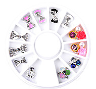 12pcs/Box Clear Bow Flowers Crown Designs Charm Nail Art Rhinestone Decorations Wheel 3d Alloy Nail Jewelry Supply