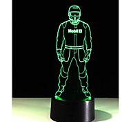 1шт сенсорным 7-цветной полиции Светодиодная лампа 3D свет цвет видение стерео красочный градиент акриловой лампы ночного видения света