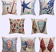1 pcs Fresh Ocean Wind Printing Brocade Linen Pillow CaseNovelty Modern/Contemporary Casual