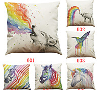 Set of 6 Painting rainbow animal  pattern   Linen Pillowcase Sofa Home Decor Cushion Cover (18*18inch)